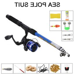 1.8m Telescopic Fishing Rod Reel Line Combo Full Kit Spinnin
