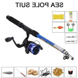 1.8m Telescopic Fishing Rod Reel Line Combo Full Kit Spinnin