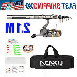 2.1M Lixada Telescopic Fishing Rod Spinning Reel Combo Full
