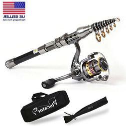 2.1M Telescopic Spinning Fishing Rod & Reel 5.5:1 Combos Sea