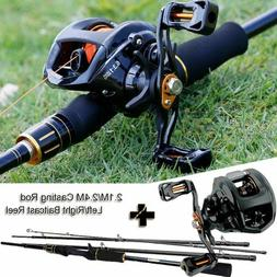 Sougayilang 2.4M Casting Fishing Rod Reel Combos with 4 Sect