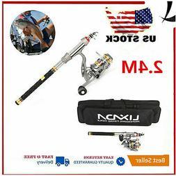 2.4m Lixada Telescopic Fishing Rod and Reel Combo Full Kit S