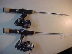 """2 NEW ICE LOGIC STX PRO  ICE FISHING ROD REEL COMBOS 25"""" LIG"""