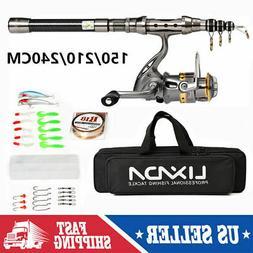 2020 Telescopic Fishing Rod Spinning Reel Combo Full Kit +10