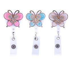 Soleebee 28'' Retractable Badge Reel, Crystal Butterfly Nurs