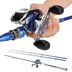 Sougayilang 2-Piece Baitcasting Fishing Rod with Fishing Ree