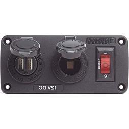 Below Deck Charging Panel - 2.1A Dual USB Charger & 12V Sock