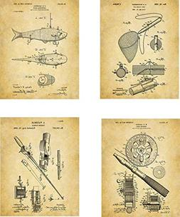 Fishing Patent Wall Art Prints - set of Four  Unframed - wal