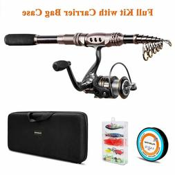 PLUSINNO Fishing Rod and Reel Combos Carbon Fiber Telescopic