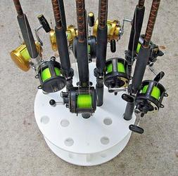 Fishing rod holder for 16 big game rods and reel for saltwat