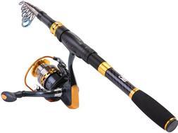 Sougayilang Fishing Rod Reel Combos Carbon Fiber Telescopic