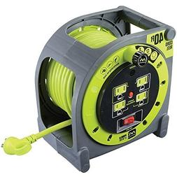 Masterplug 40ft Heavy Duty Extension Cord Case Reel with 4 1