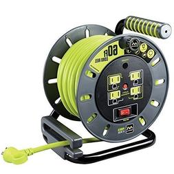 Masterplug 60ft Heavy Duty Extension Cord Open Reel with 4 1