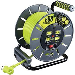 Masterplug 80ft Heavy Duty Extension Cord Open Reel with 4 1
