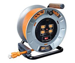 Masterplug Heavy Duty Metal Cord Reel with 4-120V 15amp Inte