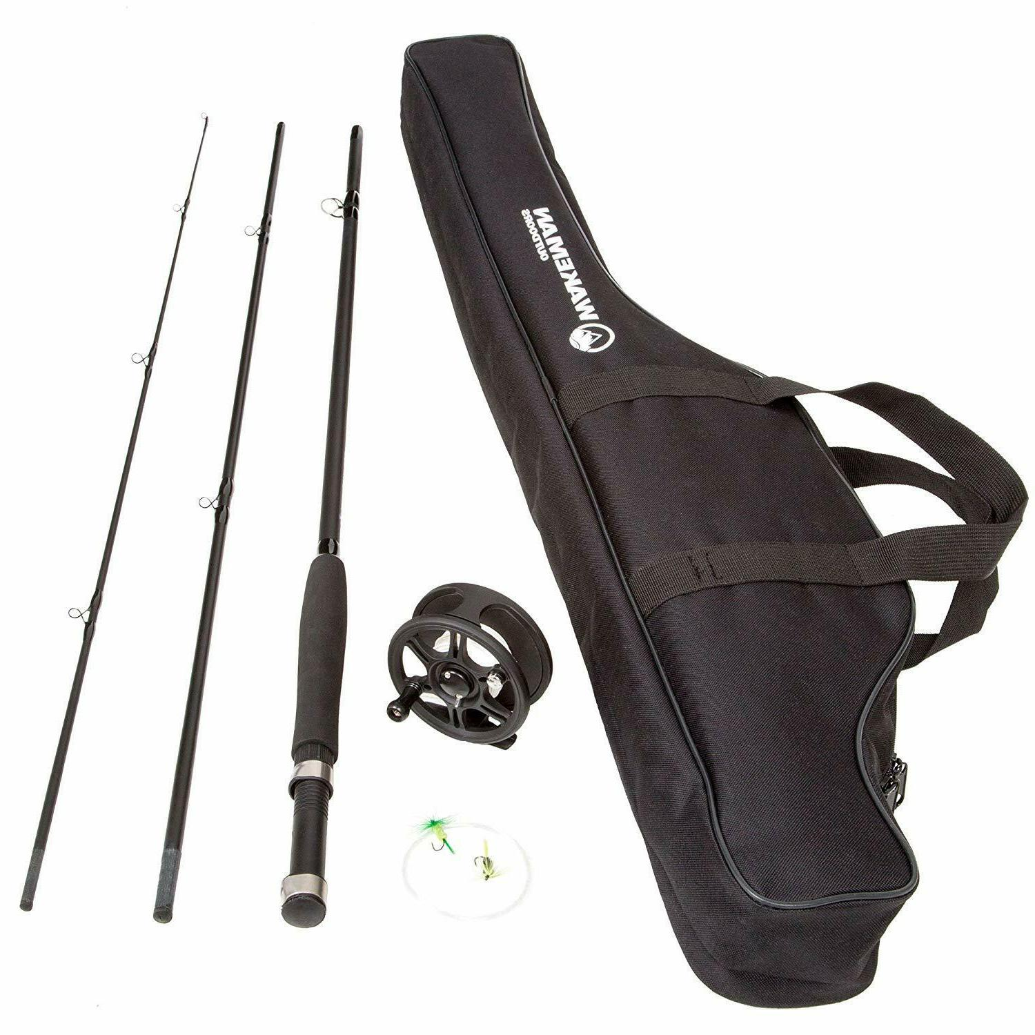 Fly Fishing Rod and Reel Combo with Carrying Case Bag 3 Piec
