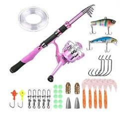 Ladies Telescopic Fishing Rod and Reel Combos,Spinning Pole