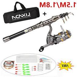Lixada Fishing Rod Reel Set Telescopic Combo Reel And Pole S