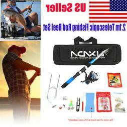 Lixada Fishing Tackle 2.1m Fiberglass Fishing Reel +Rod+ Bag