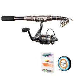 Plusinno Fishing Rod And Reel Combos Fiber C Telescopic Fish