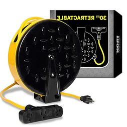 30Ft Retractable Extension Cord Reel with 3 Electrical Power